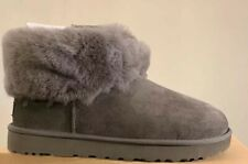 UGG CLASSIC MINI FLUFF 1106757 CHARCOAL WOMAN'S SIZE 7, BOOTS, AUTHENTIC NEW