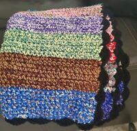 """Retro Vintage Crochet Black/Bright Multicolor Afgan Blanket Approx 40""""x24"""" Throw"""