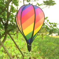US Striped Rainbow Windsock Hot Air Balloon Wind Spinner Home Outdoor Decoration