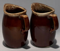 Two Vintage Brown Drip Hull Oven Proof Pottery Stoneware Creamers 4 1/2""