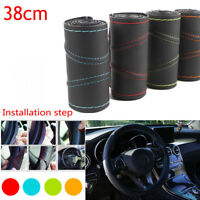 3 Colors Universal 38cm Leather Car Steering Wheel Cover Auto Protection Needle
