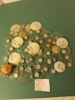 Lot 50 Vtg Round Glass Watch  Pocket Watch Crystals Round Variety Sizes New #27