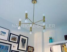 Mid Century Modern Light Chandelier Gold 5 Arm 10 Light Bulb Brass Sputnik