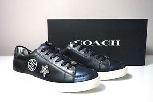 Coach Porter Lace Up Leather Black/Midnight Navy Sneakers FG1457 Size 9