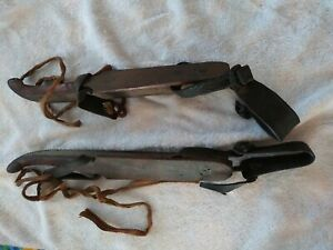 Dutch Antique 1800's Wood, Metal & Leather Ice Skates