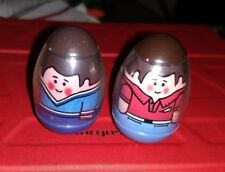 Vintage Hasbro Weebles Lot of 2 Dads- red shirt & blue shirt