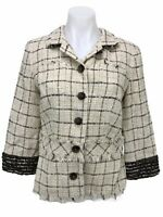 Doncaster Collection Women's Size 10 Tweed Linen Silk Button Ruffle Jacket