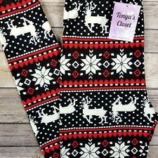 Holiday Christmas Leggings Red Reindeer Snowflake Print Butter Soft ONE SIZE OS