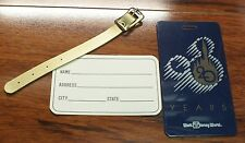 Walt Disney World Gold Leather Strap with Name Tag For Luggage Identification!