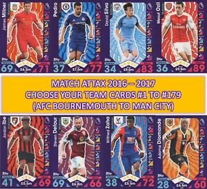 Topps Match Attax 2016 2017 16 17 Team cards - #1 to #180 Bournemouth > Man City