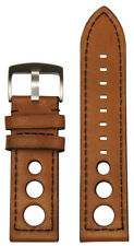 24mm XL Panatime Tan Torrino Italian Lamb Rally Watch Band w Black Stitch 125/85