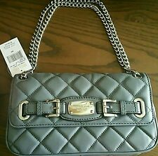 NWT MICHAEL KORS HAMILTON QUILT Small Leather Heather Gray Adj Shouldr Bag Strap