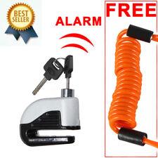 Heavy Duty Motorbike Bike Disc Lock Alarm 2 Keys Security + Reminder Cable 1.5M