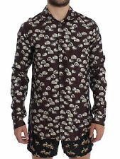 NWT DOLCE & GABBANA Purple Hedgehog SILK Pajama Shirt Sleepwear IT4/ US S