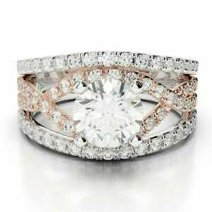 1.84 Ct Round Certified Moissanite Wedding Ring 14K Solid Multi Tone Gold Size N