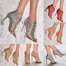 Damas Tacón Alto Brillo Sandalias zapatos brillantes Gladiador Con Tiras Talla Metálico