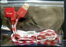 Verizon Braided Charge and Sync Cable for micro USB - Red  / White - Universal