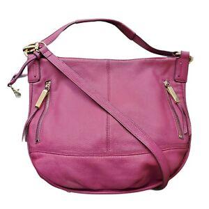 B. Makowsky Pebble Leather Shoulder Crossbody Handbag Magenta East West Zip Top
