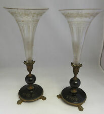 French antique 1900 Trumpet Horn Vase Pair bronze bakelite crystal Empire art