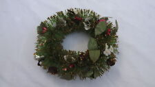 "Vtg 7"" Bottle Brush Christmas Wreath Green Decorated Gold Tips"