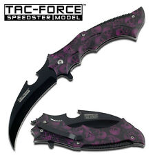 TAC FORCE PURPLE Skull Handle With Hawksbill Blade Assisted Opening Knife