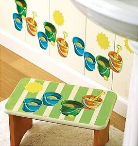 WALLIES SAND BUCKETS wall stickers 25 prepasted decals BEACH PAILS ocean sea