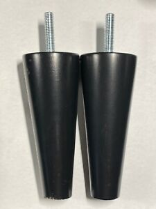 "2x Ikea Wood Leg for Strandmon Wing Chair 4 3/4"" Tall  Black Part #131290"