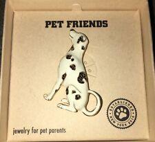 New PET FRIENDS Dalmatian Dog White Black Pin Brooch Jewelry Pet Parents W Gold
