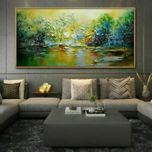 LL02 LARGE ABSTRACT LANDSCAPE OIL PAINTING LAKE HAND-PAINTED UNFRAMED