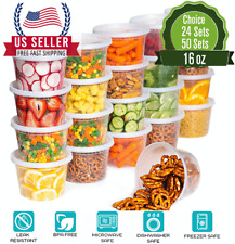 [16oz]-Heavy Duty Deli Plastic Food Storage Containers with Airtight Lids