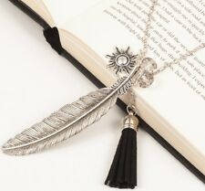 Ancient Silver Feather Sun Tassel Pendant Sweater Necklace Link Chain Jewelry