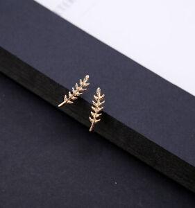 Vintage Greece Leaf U-Shaped Hook Clip Earring Stud Jewellery Ear Climber -Woman