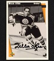 WILLIE O'REE Signed 1998 Upper Deck Commemorative Card HOF AUTO Autograph BRUINS