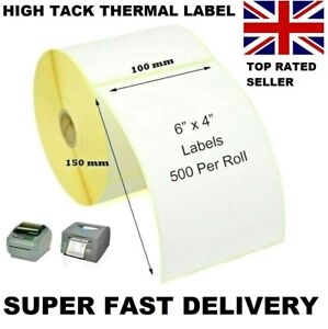 """4x6"""" 150 x 100mm Direct Thermal Labels 500 / Roll Zebra etc Super Fast Delivery"""