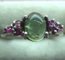 Old Stock Green Tourmaline With Ruby's 2mm Sterling Silver 925 Ring skaisJ17