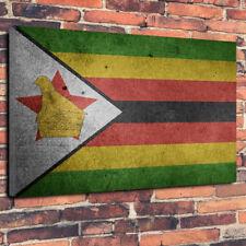 "Vintage Zimbabwean Flag Printed Box Canvas Picture A1.30""x20"" 30mm Deep Zimbabwe"