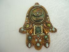 Michal Golan Copper Toned Wall Hamsa Adorned W/ Large Abalone Center, Handmade