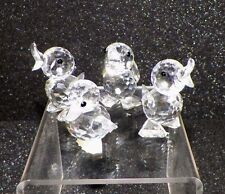 "SWAROVSKI CRYSTAL SET OF 4 DRAKE DUCKS STANDING QUACKING SWAN LOGO 2"" GOOD"