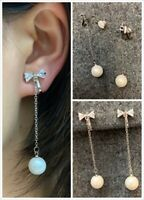 High Quality Silver Zircon Crystal Bow Shell Pearl Drop Dangle Clip On Earrings