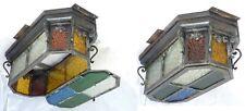 EXCPT XL Large PAIR Ceiling Light Chandelier ART DECO 1920 Multicolor glass Iron