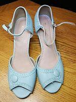 Restricted Light Blue Peep Toe Heels Shoes Women's 7.5 Retro Wedding Cosplay