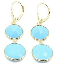 Reconstituted Turquoise 12 mm & 14 mm Dangle Earrings 14K Yellow Gold Lever Back