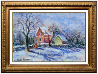 H. Claude Pissarro RARE Original Pastel Signed French Landscape Framed Painting