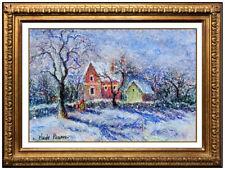 H. Claude Pissarro Original Pastel Signed French Landscape Framed Painting RARE