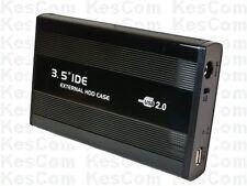 """3,5"""" 8,9cm USB2.0 auf IDE Metallgehäuse mit Netzteil Ein/Aus-Schalter in schwarz"""