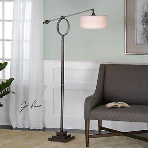 "LEVISA 70"" BRUSHED DARK BRONZE METAL FLOOR LAMP LIGHT SUSPENDED SHADE UTTERMOST"