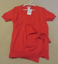 Crewcuts Red-Orange 100% Cotton Short Sleeve Wrap Sweater - Size 6-7