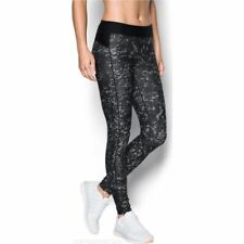 Under Armour Womens Printed Running UA Leggings Sports Gym Bottoms Black