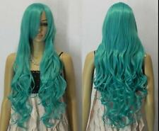 2016 Fashion Cosplay wig Dark turquoise Long Wavy Anime Costume party Wigs