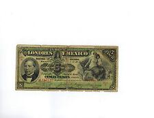 1910 Mexican Revolution Banco del Estado de Mexico Y Londres 5 Pesos Banknote